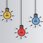 desenho com três lâmpadas, uma amarela, outra vermelha e outra azul