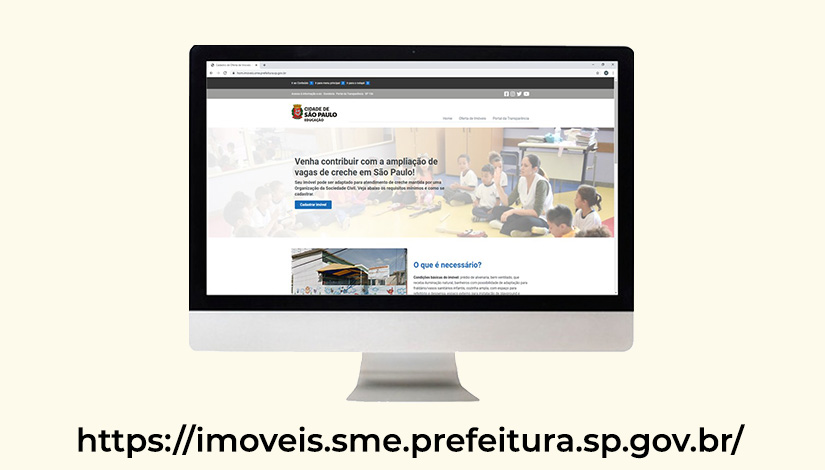 Imagem com um monitor de computador na página de Imoveis do novo portal da SME, com o endereço da web embaixo.