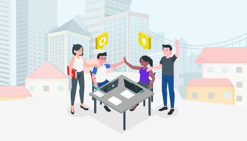 Imagem com uma mesa e pessoas trabalhando juntas, e ao fundo a cidade.
