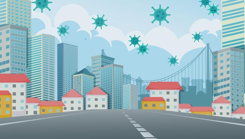 Imagem ilustra uma cidade com coronavírus no ar.