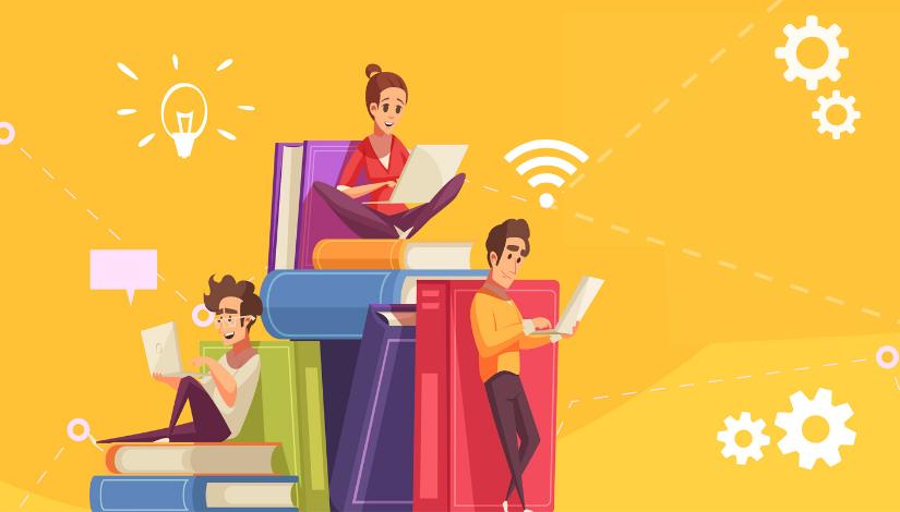 Imagem mostra pessoas usando computadores sobre livros, ao redor elementos que representam internet, ideia, mensagem e configurações