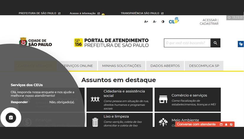 Imagem com a home do site do Portal de Atendimento da Prefeitura de São Paulo.