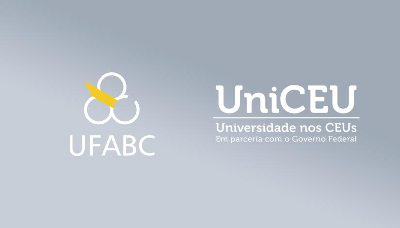Imagem com os logos da UFABC e UniCEU, um ao lado do outro com um degradê claro de fundo.