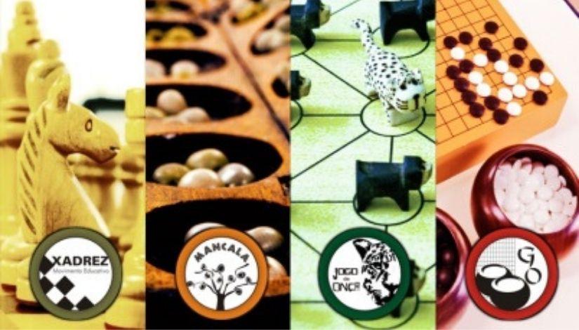 pedaços de fotos que representam os jogos Mancala, da Onça, Xadrez e Go